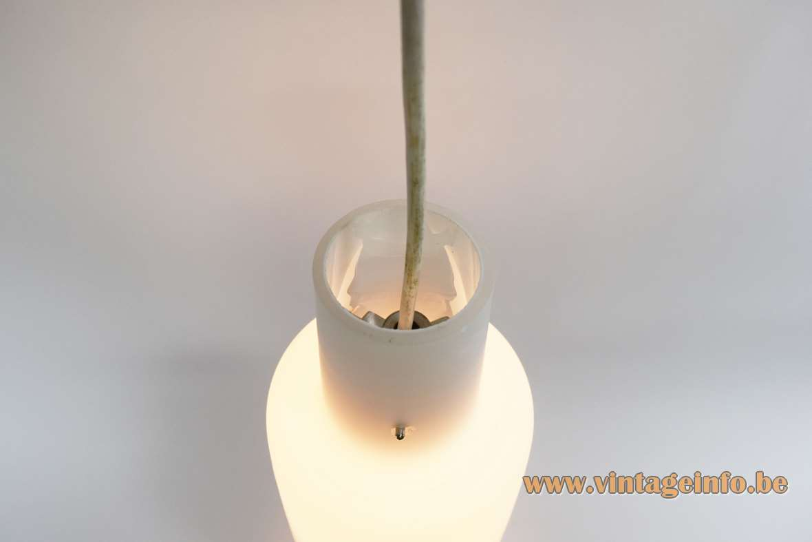 1950s opal glass pendant lamp bell shaped white frosted tubular lampshade 1960s E27 socket top view