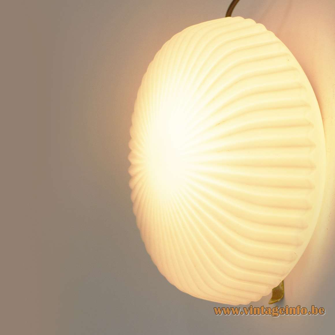 1950s Scandinavian ribbed flush mount round white opal glass wall lamp galvanized iron 1960s MCM
