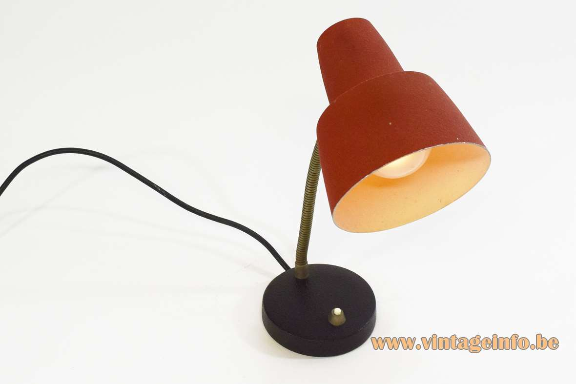 1960s wrinkle paint desk lamp black cast iron ERWI base brass gooseneck red lampshade Cosack Germany