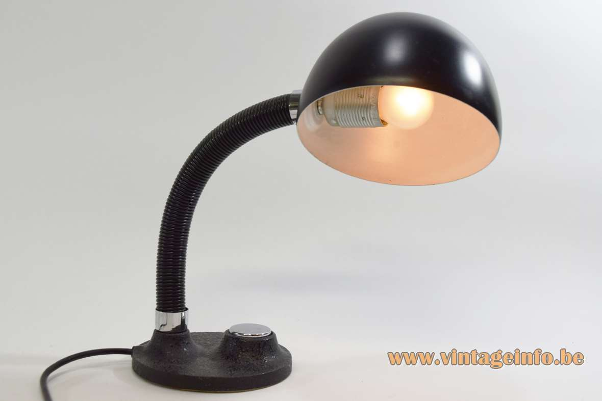 1970s Hillebrand desk lamp round black cast iron base gooseneck round lampshade vintage Mid-Century Modern