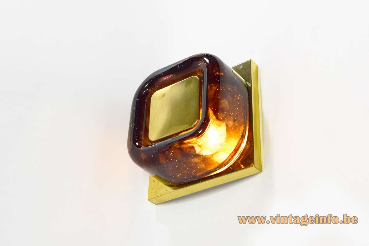 1970s Square brass & brown amber bubble glass wall lamp design: Helena Tynell Glashütte Limburg Mid-Century Modern