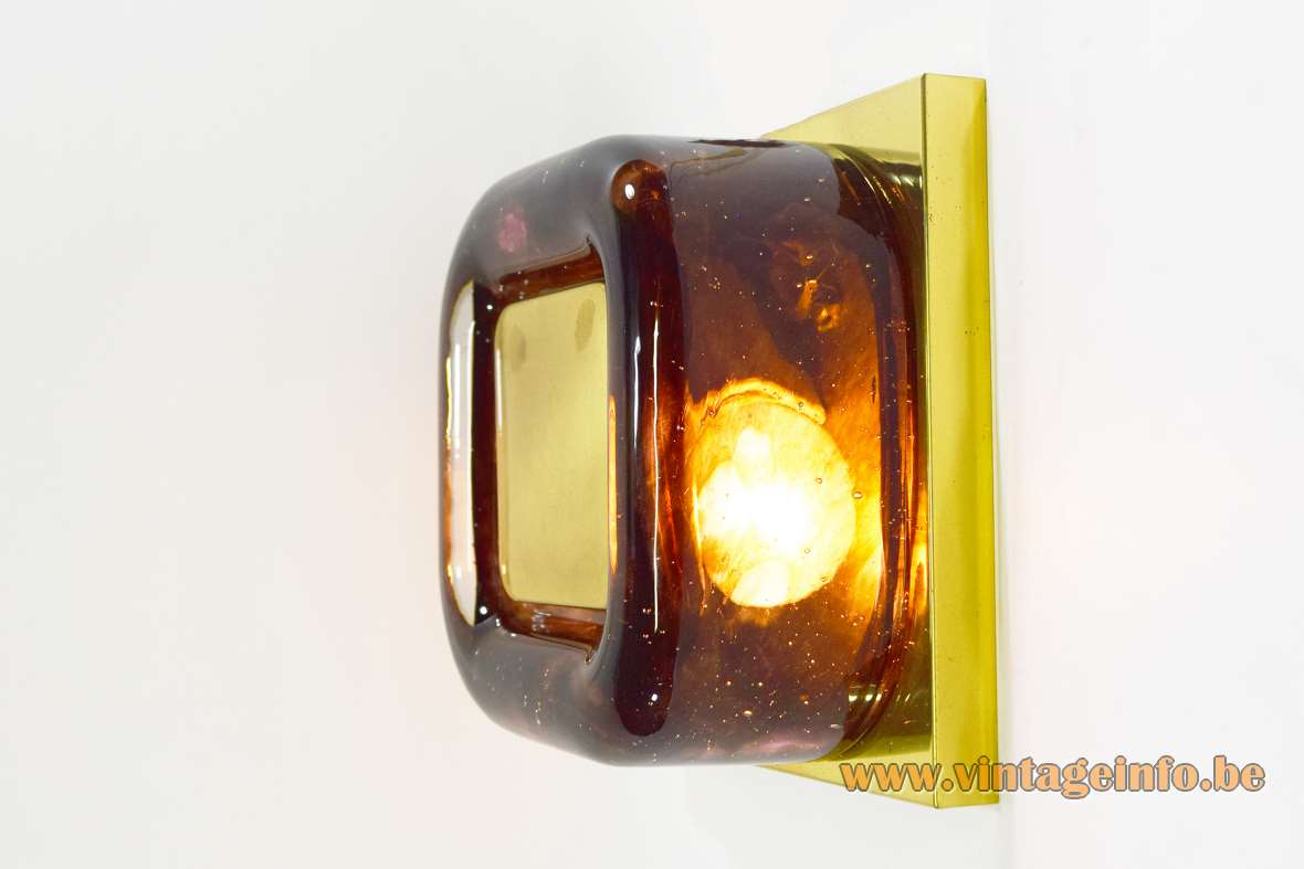 1970s Square Brass & Glass Wall Lamp