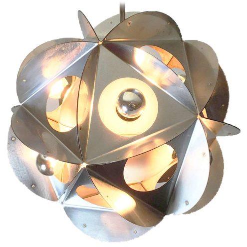 Acona Biconbi chrome polyhedra chandelier 1960s 1970s design: Bruno Munari Made in Italy by Danese MCM