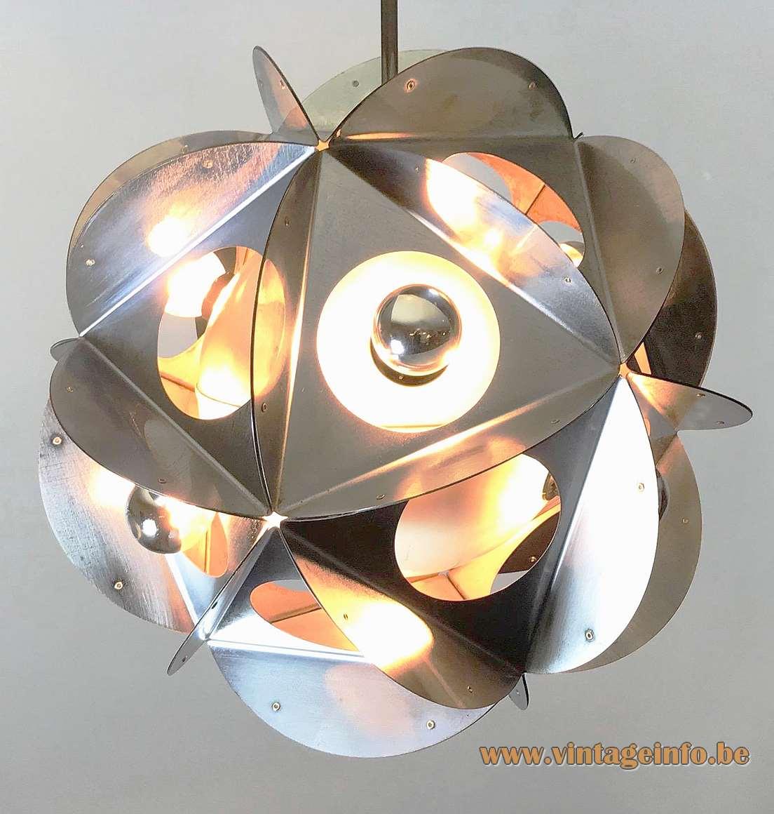 Acona Biconbi chandelier chrome metal polyhedra lampshade design: Bruno Munari Danese Italy 1960s 1970s vintage MCM