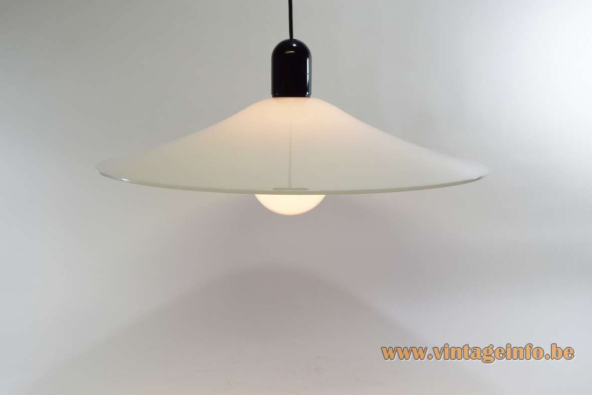 Acrylic witch hat pendant lamp white plastic black top 1970s 1980s Massive Belgium MCM