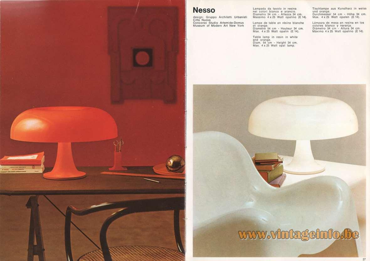 Artemide Nesso Table Lamp - Catalogue 1973 - White and orange version