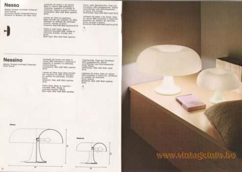 Artemide Nesso and Nessino Table Lamps - Catalogue 1976 - White versions