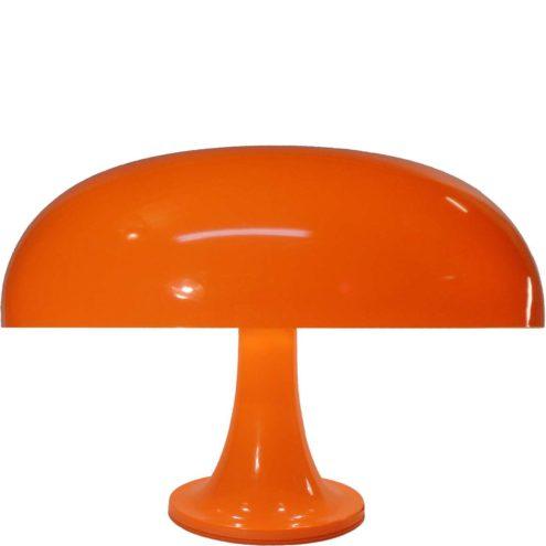 Artemide Nesso table lamp orange ABS plastic base mushroom lampshade 1960s design 3 E14 sockets Italy
