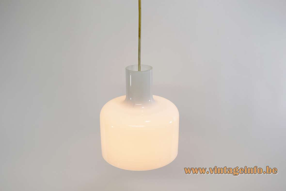Opal glass bell pendant lamp clock bell shaped white crystal lampshade E27 socket 1950s 1960 1970s