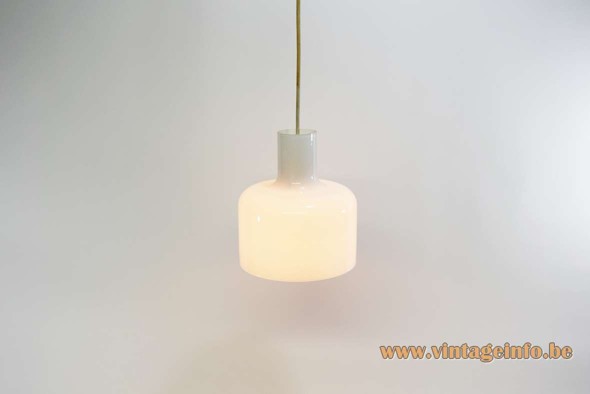 Bell pendant lamp clear and white opal glass lampshade E27 bulb 1950s 1960 Mid-Century modern MCM vintage
