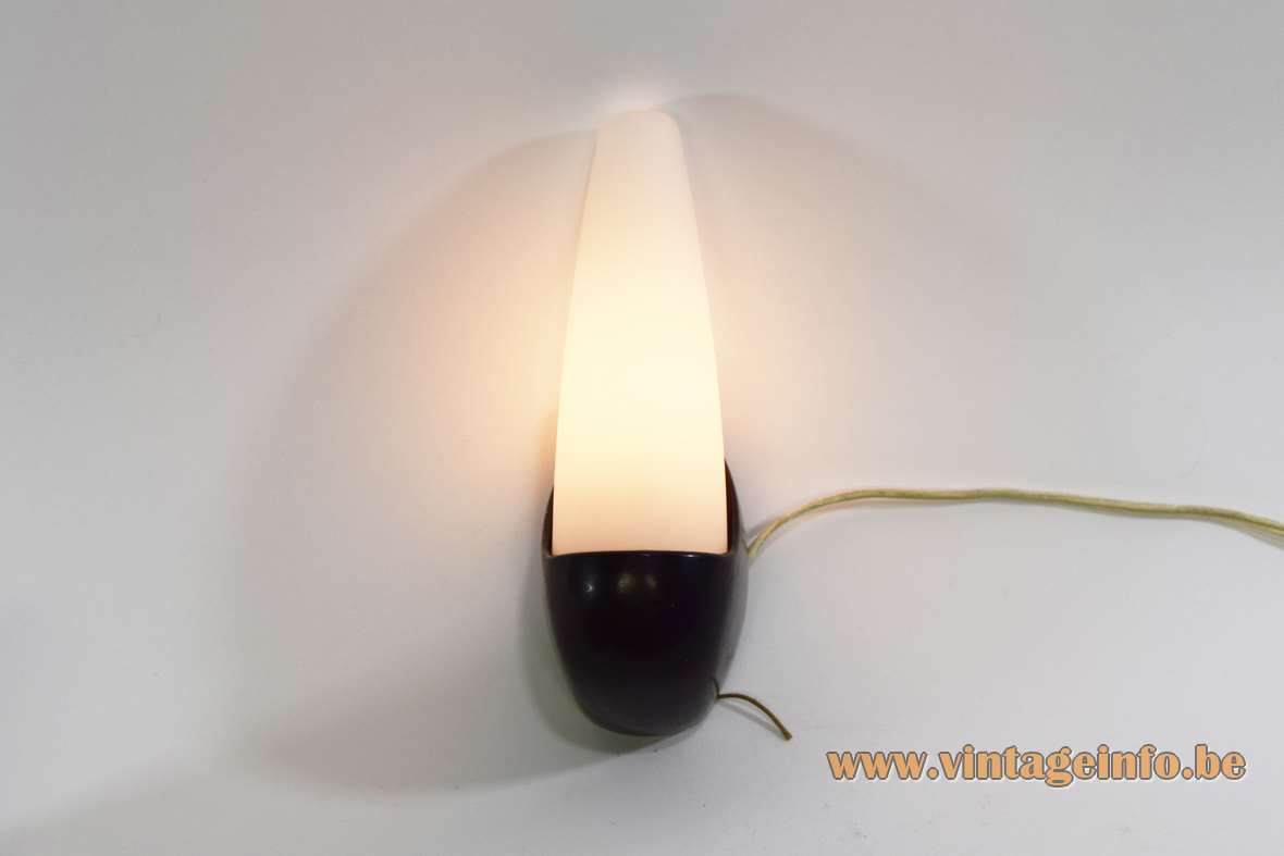 Bo-Niko wall lamp black Bakelite white mat/frosted opal glass Sint Niklaas Belgium 1960s MCM