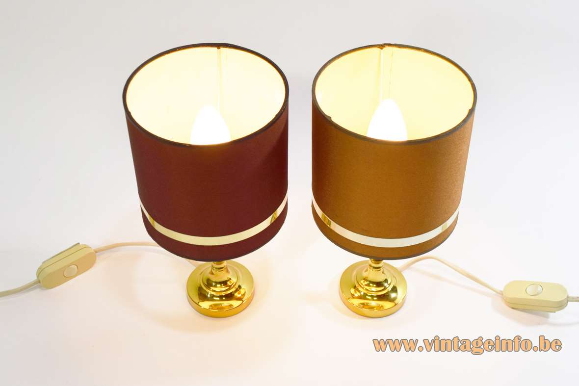 Boulanger brass bedside table lamps round base tubular fabric lampshade classic style bottom label 1970s 1980s