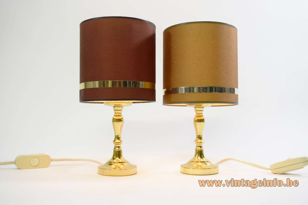 Boulanger brass bedside table lamps round base tubular fabric lampshade classic style Hollywood Regency 1970s 1980s