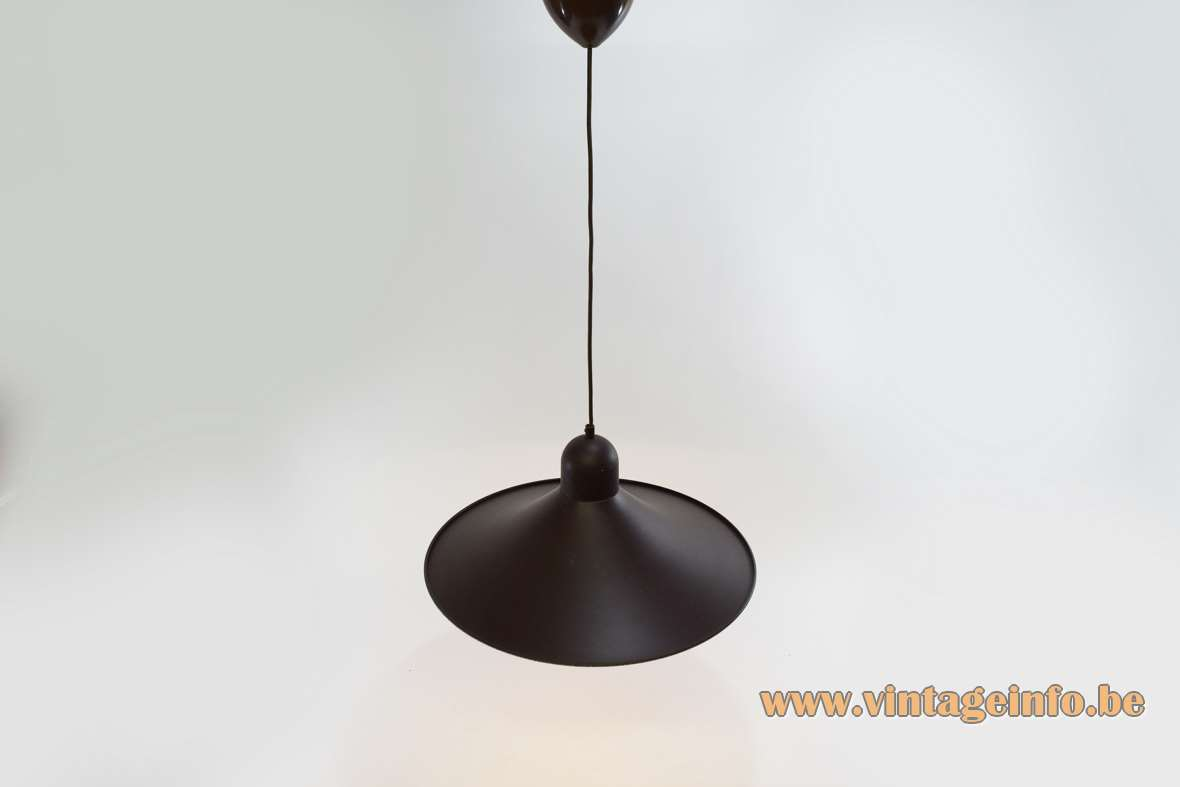 Brown witch hat pendant lamp round metal iron lampshade white inside Massive 1970s 1980s vintage MCM