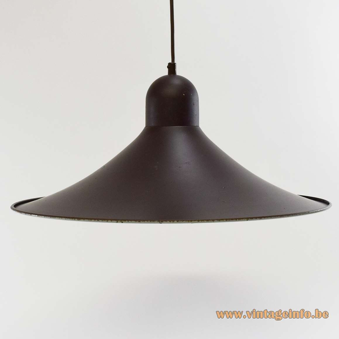 Brown witch hat pendant lamp metal iron lampshade Massive Belgium 1970s 1980s Mid-Century Modern MCM