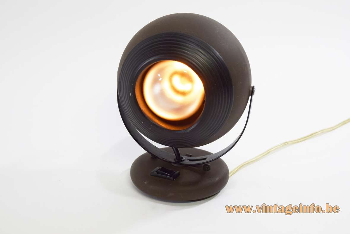 EH Leuchten Eyeball Wall Lamp mat brown painted globe black parts round wall mount 1970s 1980s MCM
