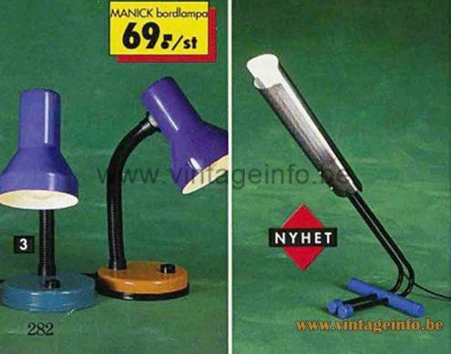Fischer Leuchten Desk Lamp - IKEA Manick Lamp - 1993 Catalogue Picture