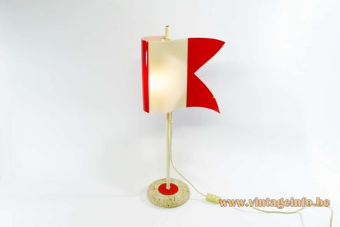 Flag table lamp round travertine base red/white acrylic flag metal rod 1970s MCM Mid-Century Modern