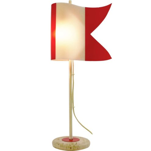 Red and white flag table lamp round travertine limestone base curved acrylic Perspex lampshade 1970s 1980s