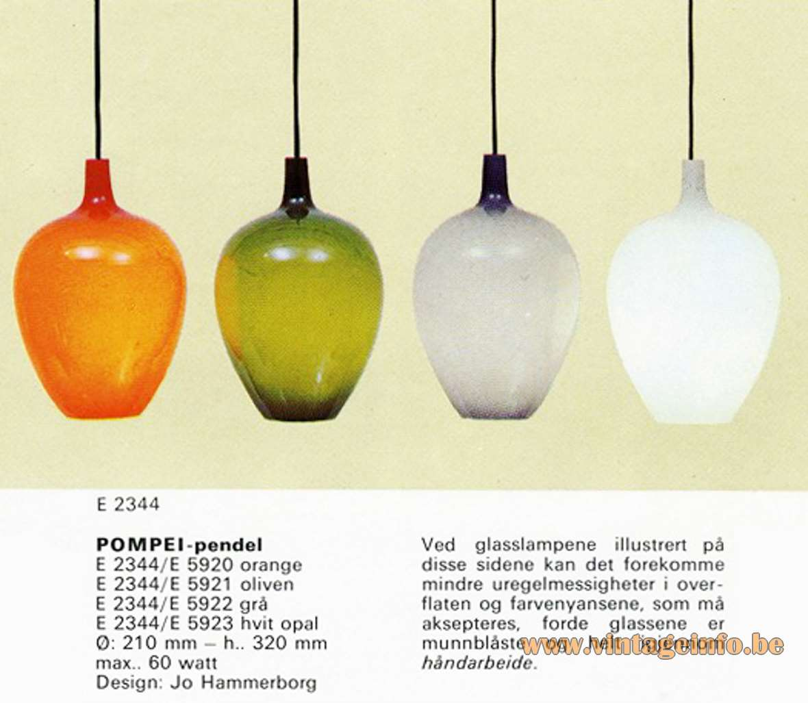 Fog & Mørup Pompeï Pendant Lamps - Catalogue Picture