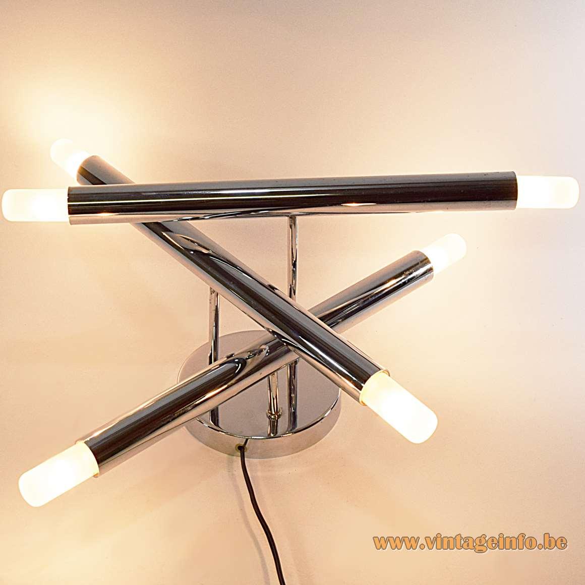 Gaetano Sciolari 3 Chrome Tubes Flush Mount safety match view six light bulbs 1960s 1970s MCM