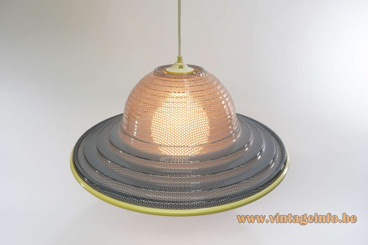 Gauze pendant lamp grey round lampshade perforated and translucent plastic acrylic Perspex yellow rim 1980s 1990s