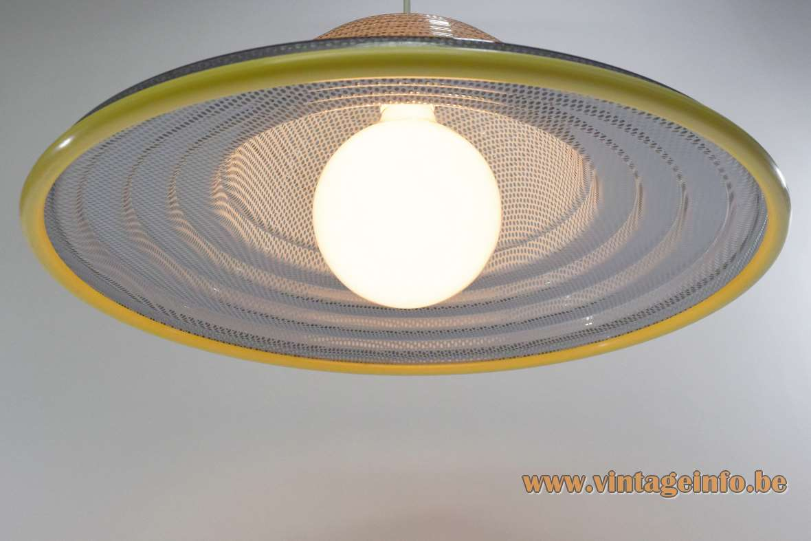 "Gauze pendant lamp  grey ""perforated"" and translucent plastic acrylic yellow rim 1980s 1990s"