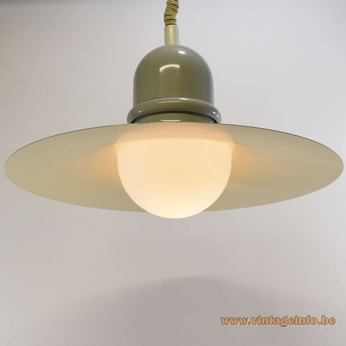 Herda rise & fall metal pendant lamp round witch hat lampshade opal glass diffuser 1960s 1970s MCM
