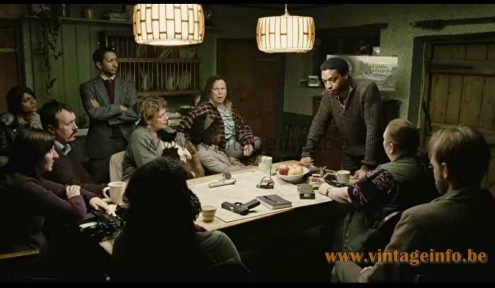 Massive jute and pine pendant lamps used as a prop in the 2006 film Children Of Men