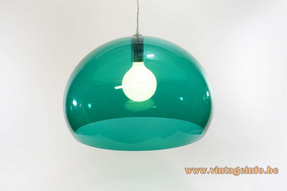 Kartell FL/Y pendant lamp big green translucent acrylic plastic globe lampshade 2002 design: Ferruccio Laviani Italy