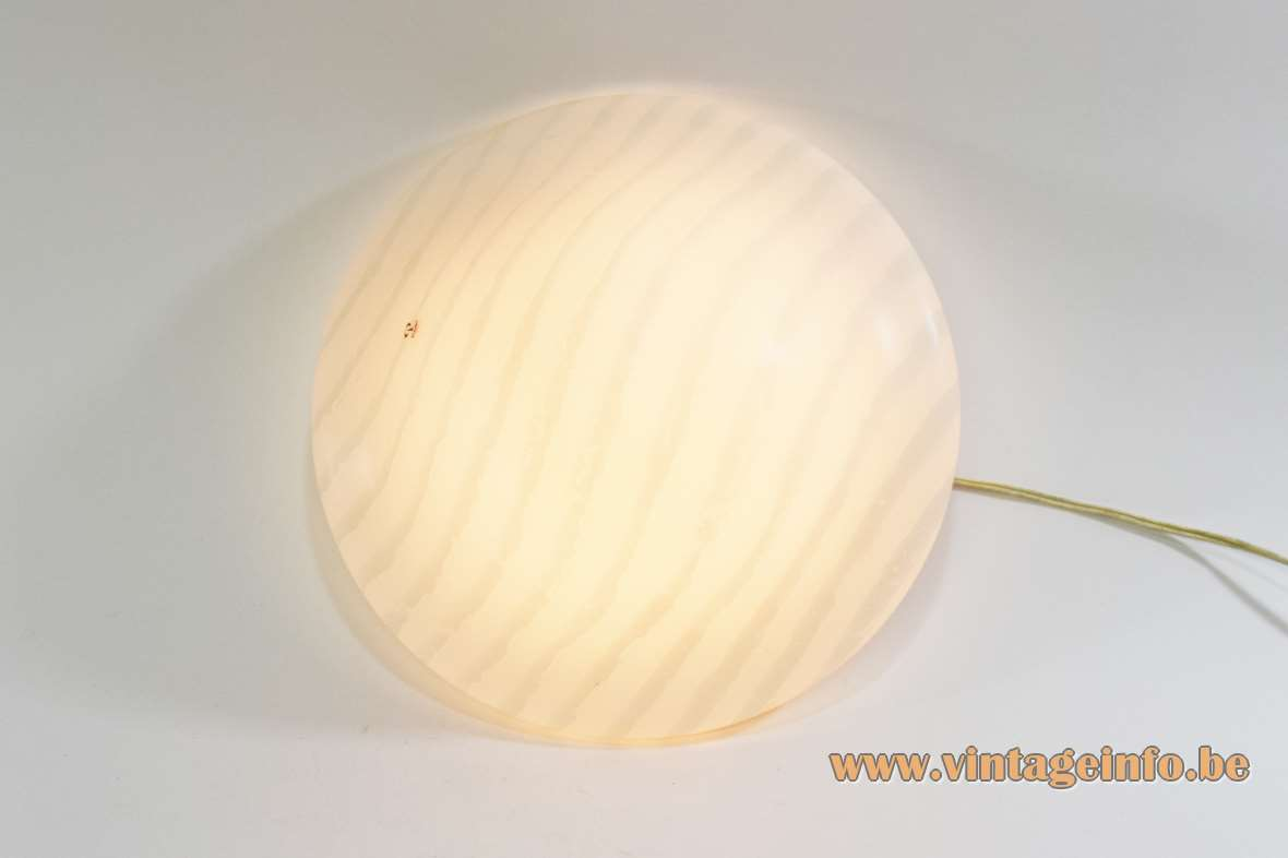Peill + Putzler white striped round curved flush mount 1970s 1980s MCM Germany E27 socket