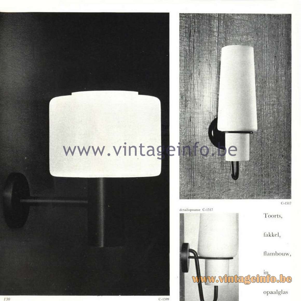 Raak Opal Glass Pendant Lamp - Raak Catalogue 5 - 1962 - Wall Lamp C-1517
