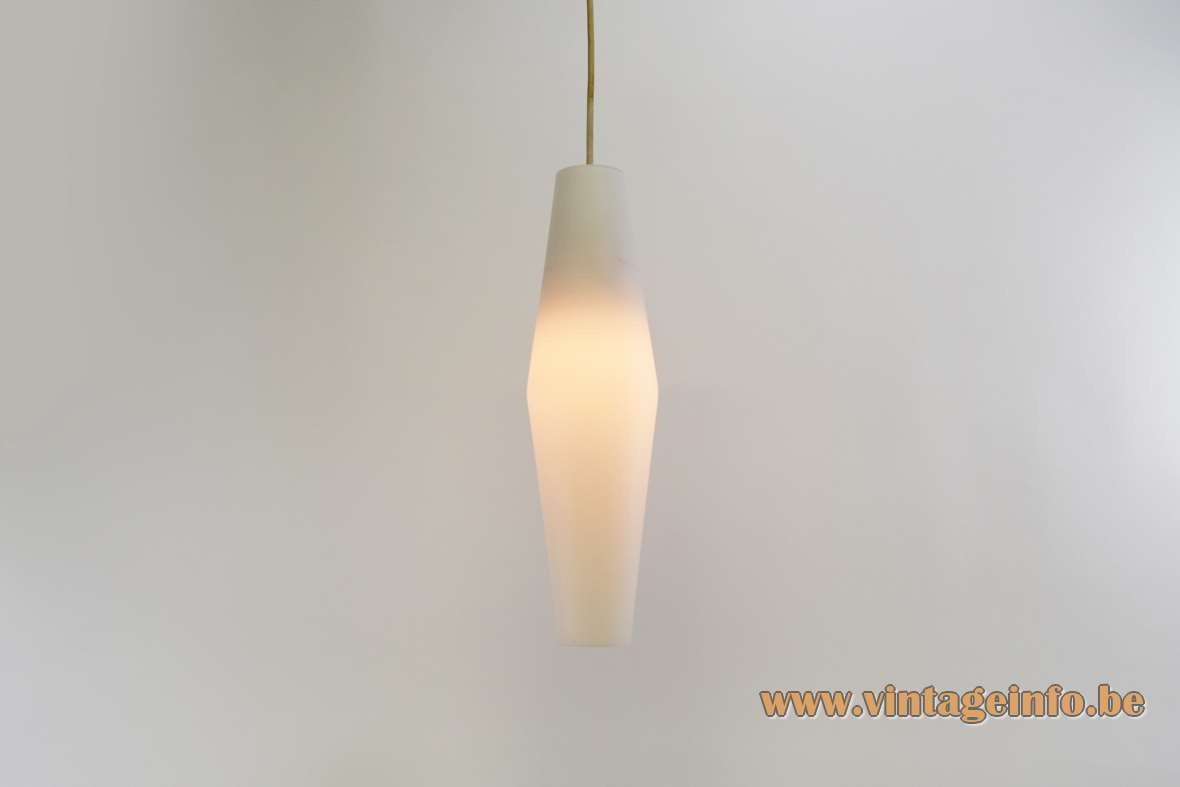 Raak lantern pendant lamp design: Svend Aage Holm Sørensen diamond shaped opal glass lampshade 1950s 1960s