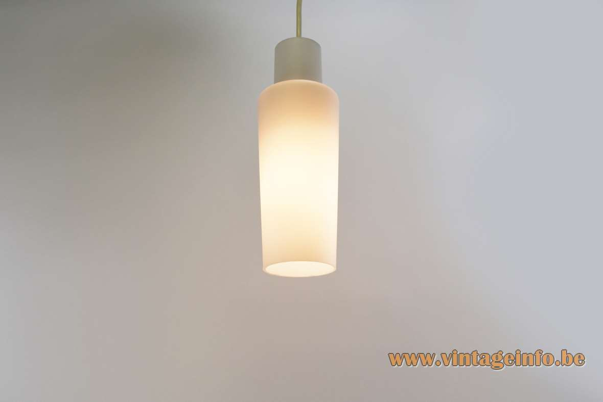Raak pendant lamp white opal glass tube Amsterdam The Netherlands 1950s 1960s E27 socket Mid-Century Modern MCM