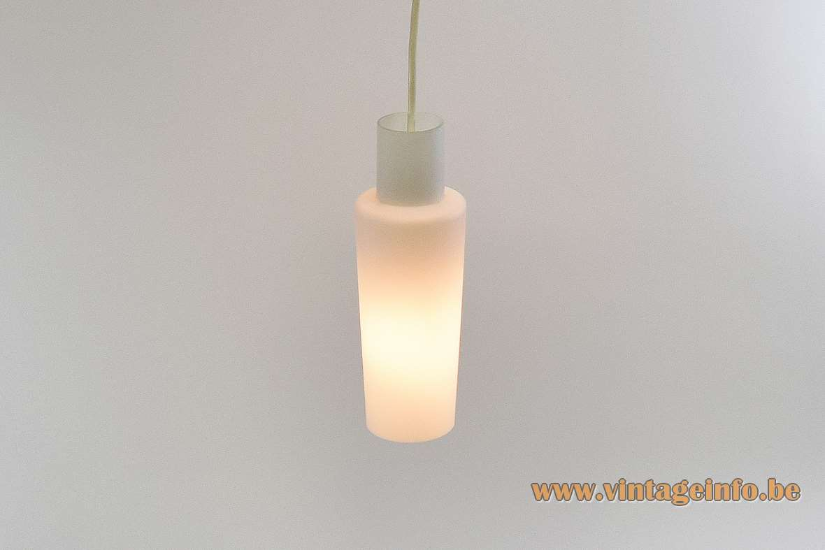Raak opal glass pendant lamp long white tubular lampshade E27 socket 1950s 1960s The Netherlands vintage