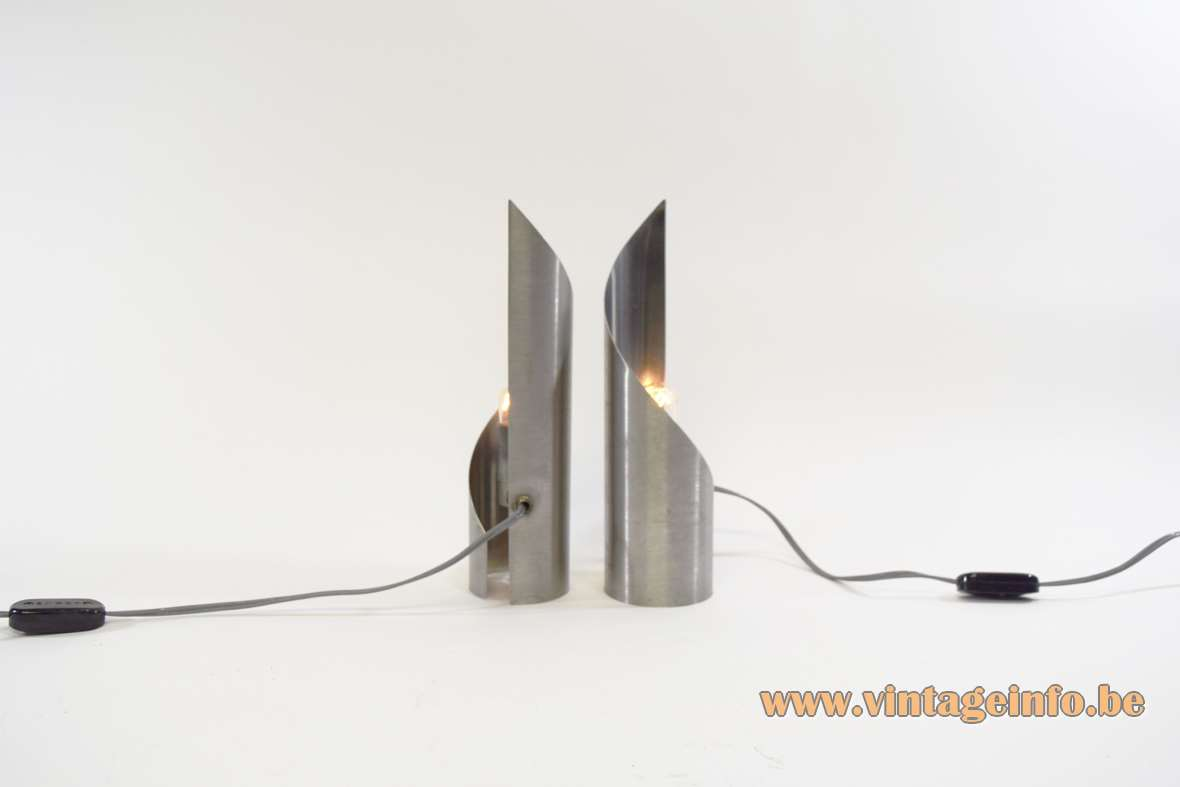 Stainless steel table lamps brushed Inox swirling turned twisted metal lampshade 1970s Oxar Uginox France