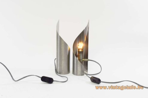 Brushed stainless steel table lamps swirling turned twisted vintage lights 1970s MCM Mid-Century Modern
