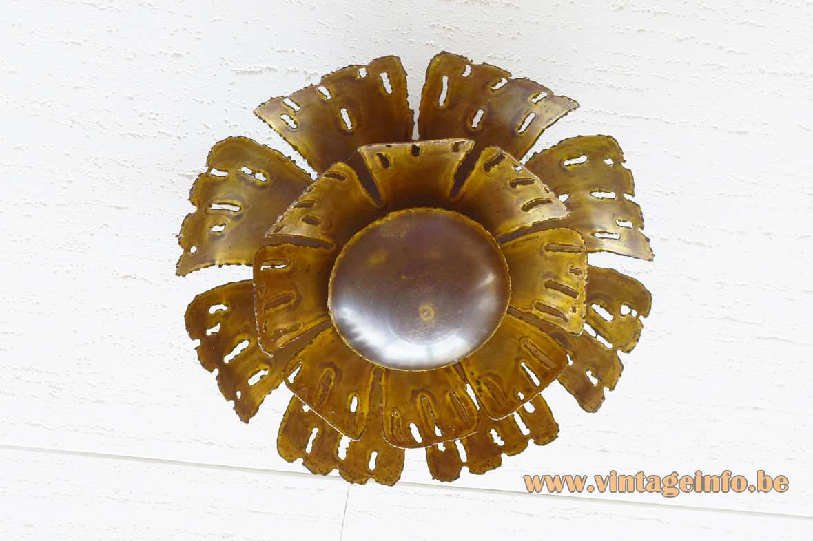Svend Aage Holm Sørensen brass flush mount round brutalist flower sunburst ceiling lamp 1960s 1970s Denmark
