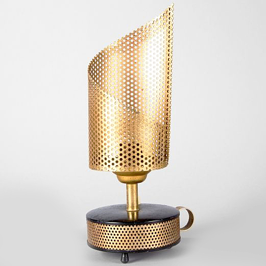 Télé Ambiance table lamp round perforated base & lampshade 1950s 1960s MCM Mid-Century Modern France