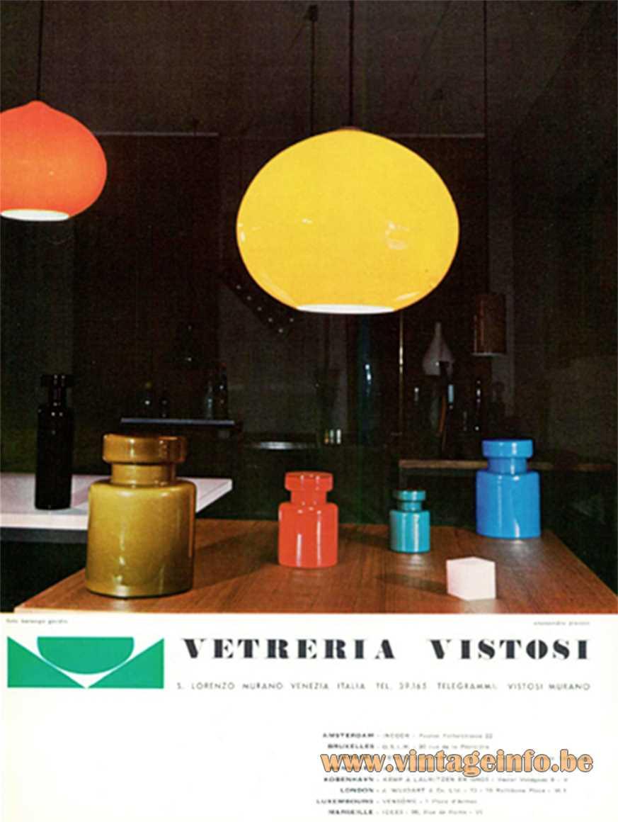 Vistosi Onion pendant lamps Domus 405 August 1963 design: Allesandro Pianon, Luciano Vistosi Murano Italy Mid-Century Modern MCM