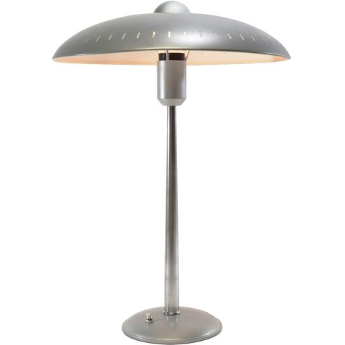 1950s Louis Kalff desk lamp round base conical rod silver mushroom lampshade elongated slots Philips 1960s