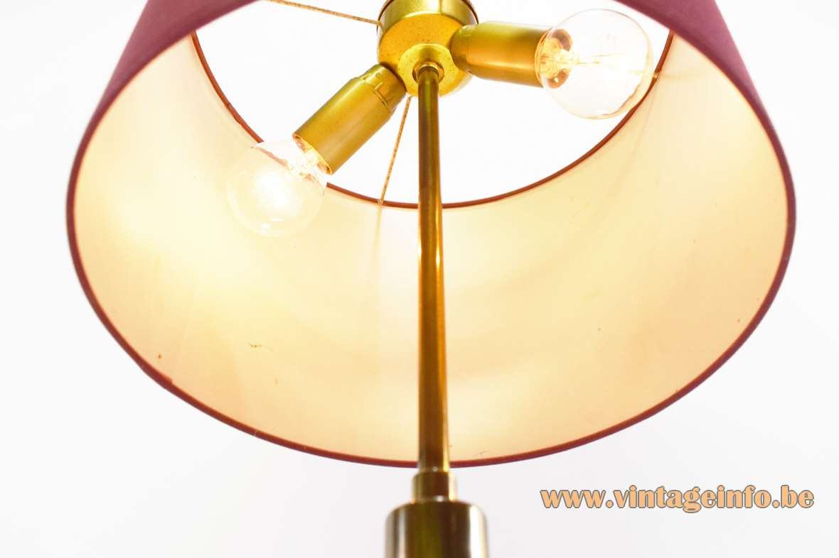 1960s brass table lamp varnished round base globe tubular fabric lampshade 1960s 1970s Massive Belgium vintage