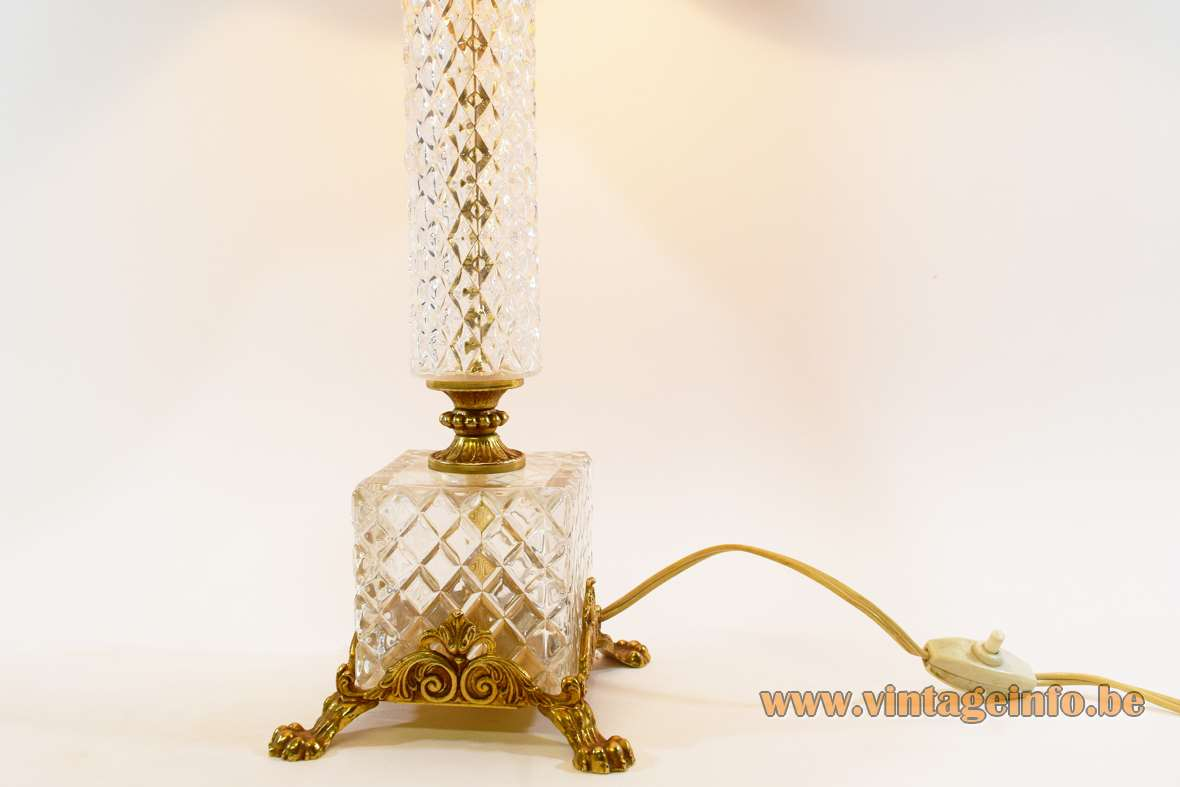 Crystal & brass table lamp neoclassical ormolu Hollywood Regency S.A. Boulanger Belgium 1960s 1970s MCM Mid-Century Modern