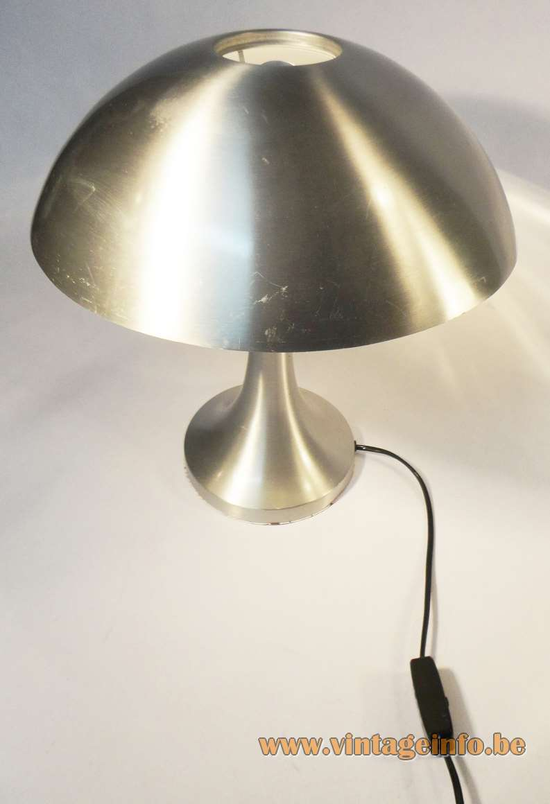 Louis Kalff desk lamp mushroom lampshade brushed aluminium Philips conical base 1960s 1970s E27 socket MCM Mid-Century Modern