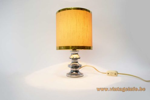 1970s chrome table lamp round base fabric lampshade 1960s blue felt E14 light socket MCM