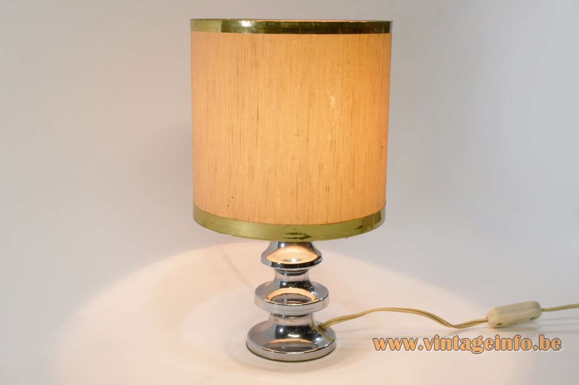 1970s chrome table lamp round base conical rings fabric lampshade blue felt Massive 1960s vintage