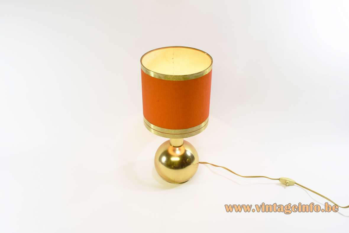 1970s gold sphere table lamp round globe tube orange lampshade 3 rings Massive 1960s vintage