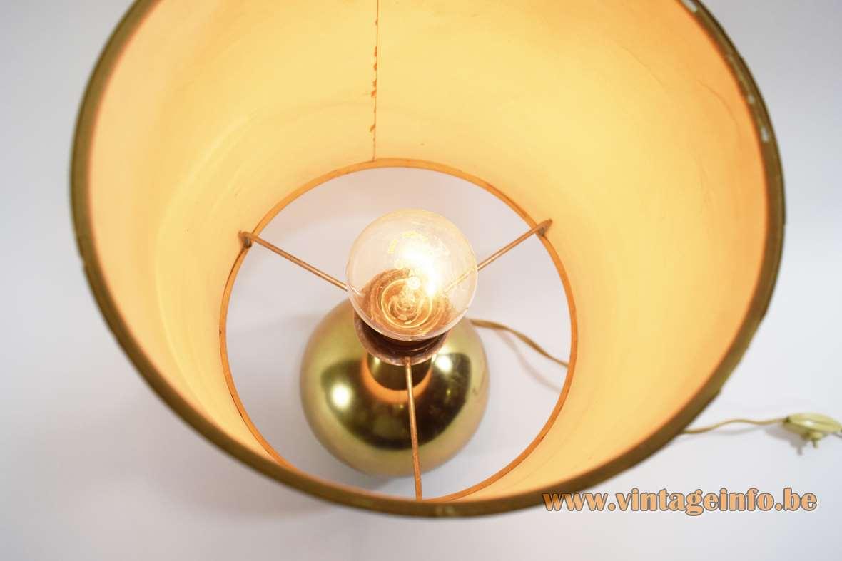 1970s gold coloured sphere/globe table lamp orange round lampshade golden rings Massive Belgium 1960s MCM