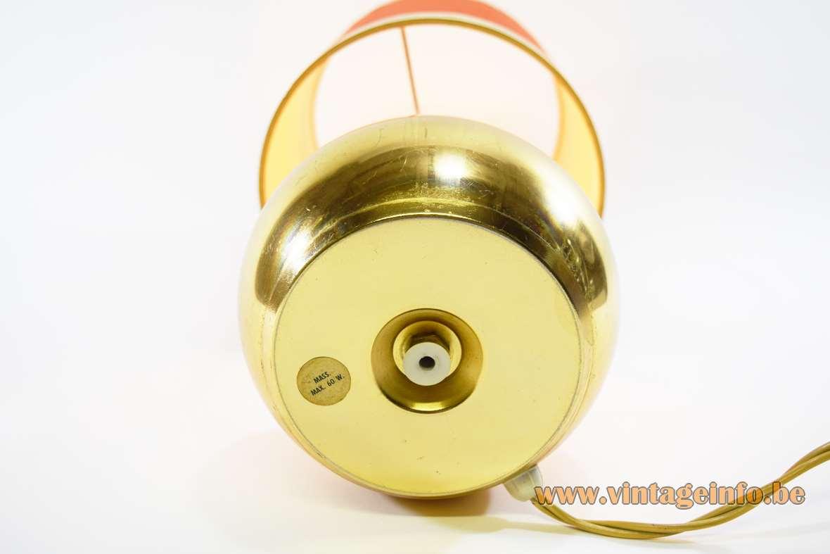 1970s gold coloured sphere/globe table lamp orange round lampshade golden rings Massive Belgium bottom