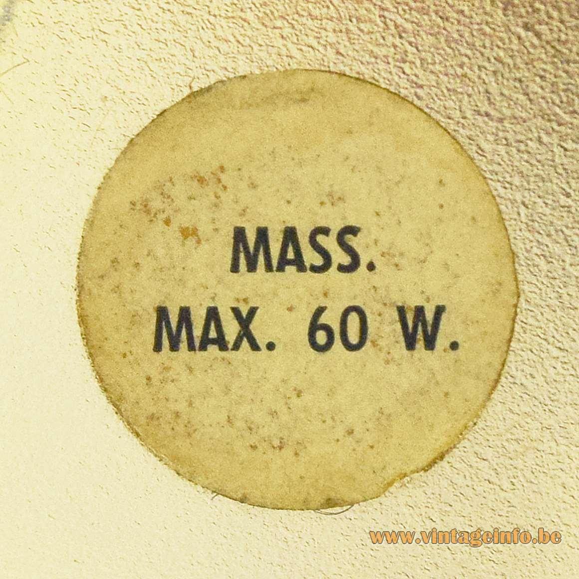 Massive Belgium 1960s 1970s round paper label Mass. Max. 60 W.